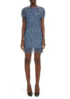 Balmain Fringe Hem Tweed Minidress