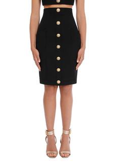 Balmain High Waist Grain de Poudre Wool Pencil Skirt