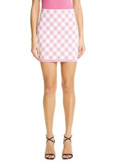 Balmain High Waist Short Gingham Jacquard Skirt