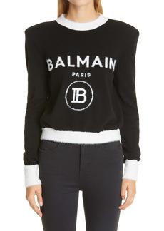 Balmain Intarsia Logo Crop Sweater