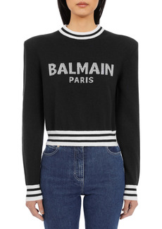 Balmain Intarsia Logo Wool & Cashmere Blend Crop Sweater