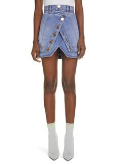 Balmain Layered Denim Faux Wrap Miniskirt