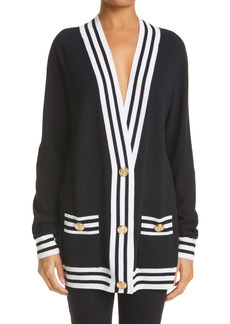 Balmain Logo Stripe Trim Wool Blend Cardigan