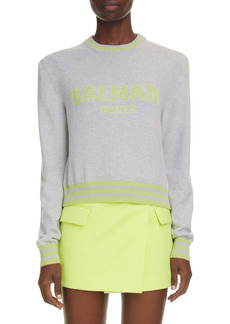 Balmain Mesh Logo Crop Sweater
