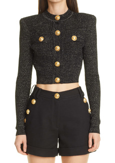 Balmain Metallic Knit Crop Sweater
