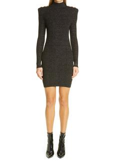 Balmain Metallic Long Sleeve Sweater Minidress