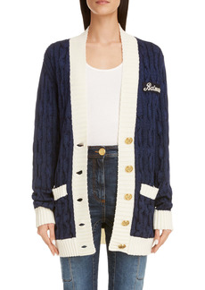 Balmain Oversized Wool Blend Cable Knit Cardigan