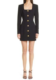 Balmain Square Neck Long Sleeve Wool Minidress