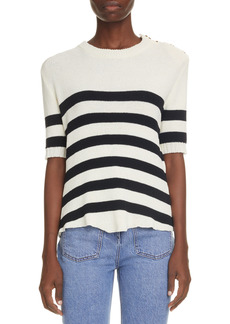 Balmain Stripe Button Shoulder Sweater