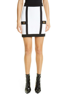 Balmain Two-Tone Sweater Miniskirt