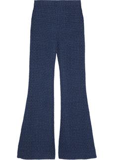 Balmain Woman Bouclé-tweed Flared Pants Royal Blue