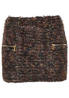 Balmain Woman Bouclé-tweed Mini Skirt Brown