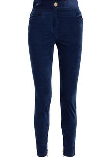 Balmain Woman Cotton-blend Velvet Skinny Pants Navy