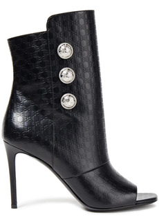 Balmain Woman Button-embellished Logo-embossed Leather Ankle Boots Black
