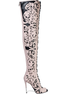 Balmain Woman Campbell Lace-up Laser-cut Leather Thigh Boots Baby Pink