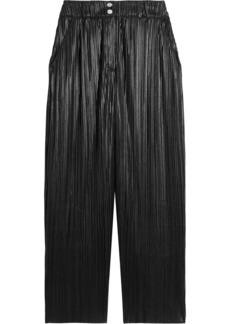 Balmain Woman Coated Plissé-jersey Wide-leg Pants Black