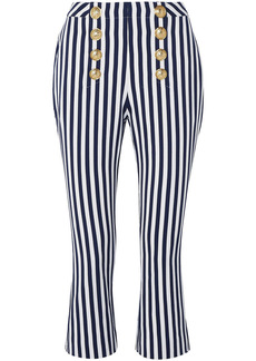Balmain Woman Cropped Button-embellished Striped Cotton-twill Flared Pants Navy