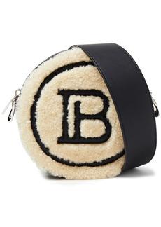 Balmain Woman Disco Leather-trimmed Shearling Shoulder Bag Ecru