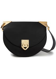 Balmain Woman Embellished Leather Shoulder Bag Black