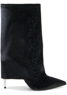 Balmain Woman Glittered Velvet And Leather Boots Midnight Blue