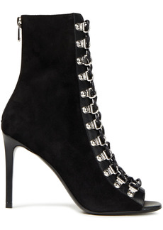Balmain Woman Lace-up Leather-trimmed Suede Ankle Boots Black