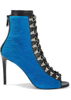 Balmain Woman Leather-trimmed Pleated Suede Ankle Boots Blue