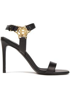 Balmain Woman Logo-embellished Leather Sandals Black