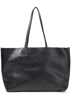 Balmain Woman Logo-embossed Leather Tote Black