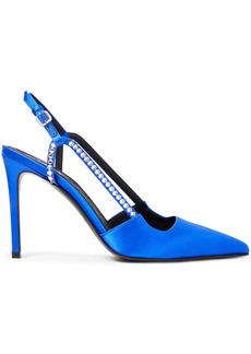 Balmain Woman Madison Crystal-embellished Satin Slingback Pumps Royal Blue