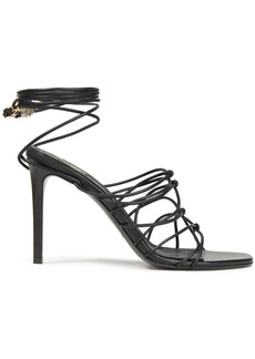 Balmain Woman Mikki Lace-up Knotted Leather Sandals Black