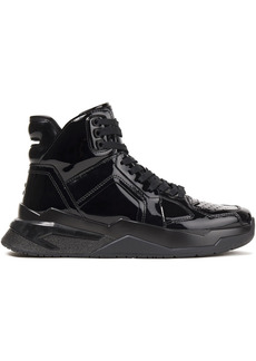 Balmain Woman Perforated Patent-leather High-top Sneakers Black