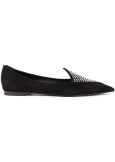 Balmain Woman Crystal-embellished Suede Point-toe Flats Black