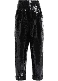 Balmain Woman Sequined Tulle Straight-leg Pants Black