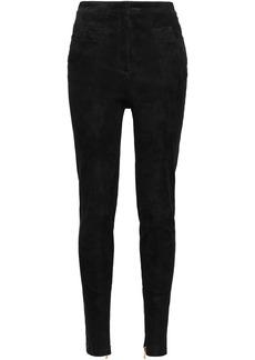 Balmain Woman Stretch-suede Skinny Pants Black