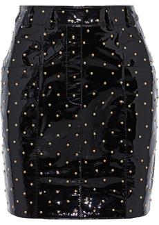 Balmain Woman Studded Patent-leather Mini Skirt Black