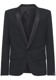 Balmain Collection Fit Satin Shawl Wool Blazer