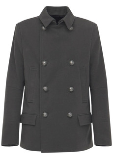 Balmain Cotton Pea Coat W/ Detachable Collar