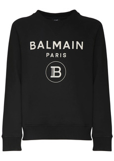 Balmain Cracked Logo Cotton Jersey Sweatshirt