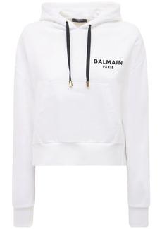 Balmain Cropped Flocked Logo Cotton Hoodie