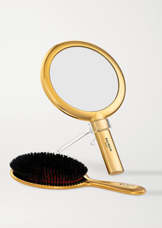 Balmain Gold-plated Spa Brush & Hand Mirror Set