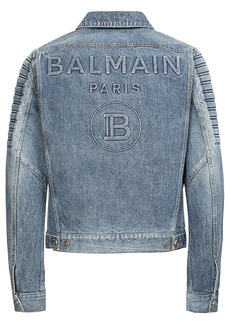 Balmain Logo Embossed Cotton Denim Jacket