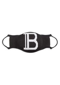 Balmain Stretch-Knit Monogram Face Mask
