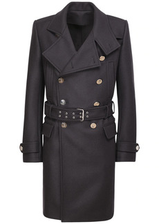 Balmain Wool Blend Military Coat W/ Belt