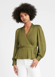Banana Republic Soft Satin Wrap Top