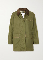 Barbour Alexachung Cyril Corduroy-trimmed Waxed-cotton Jacket