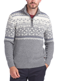 Barbour Fair Isle Quarter Zip Wool Sweater