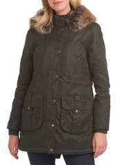 Barbour Homeswood Waxed Cotton Hooded Raincoat with Faux Fur Trim