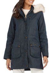 Barbour Nightingale Faux Fur Trim Waxed Cotton Jacket