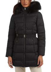 Barbour Oykel Faux Fur Trim Hooded Belted Puffer Coat