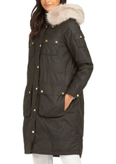Barbour Stopes Faux Fur Trim Waxed Cotton Jacket
